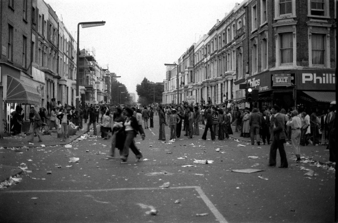 NOTTING HILL 1976: The scene in London's Notting Hill after West London's calypso carnival became a carnival of terror. Police fought running battles with young people as rioters went on an orgy of violence and destruction, smashing shop windows and attacking fleeing whites.